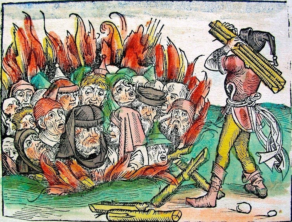 محنة المعزولين /  رسم تخيلي يجسد إحدى عمليات إحراق اليهود